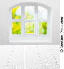 窓, きれいにしなさい, テーブル, 白, 空, 台所