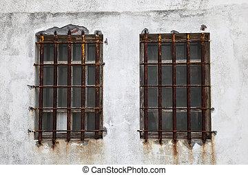 窓, さびた, バー, 鉄