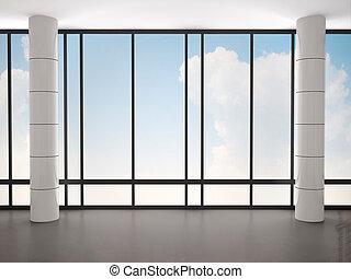 窓, イラスト, 大きい, コラム, 内部, 空, 3d