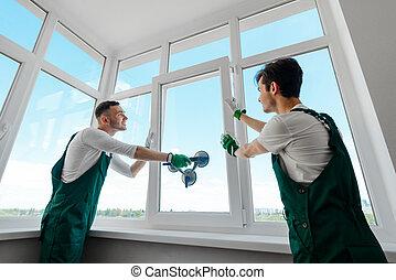 窓, インストール, アパート, 男性