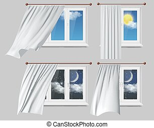 窓, カーテン, 白, ベクトル, イラスト