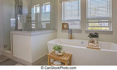 窓, パノラマ, valance, シャワー, 停止, 前部, ブラインド, 浴槽