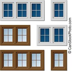 窓, ブラウン, 白, ベクトル, プラスチック