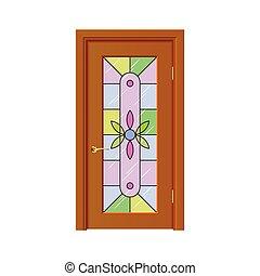 窓, ベクトル, ドア, 隔離された, ステンドグラス