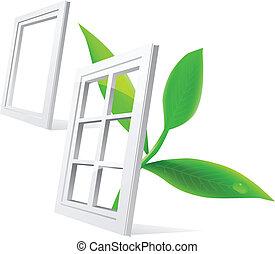 窓, ベクトル, 葉