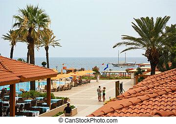 窓, ホテル, 海の 眺め