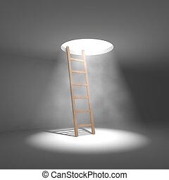 窓, ライト, 階段, 部屋, 反対, 天井, shines