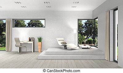窓, レンダリング, 内部, 現代, 3d