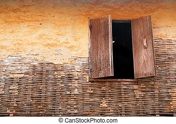 窓, 上に, 壁, 古い, 木