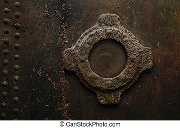 窓, 上に, a, 錆ついた 金属, 壁