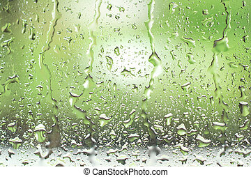 窓, 低下, 雨