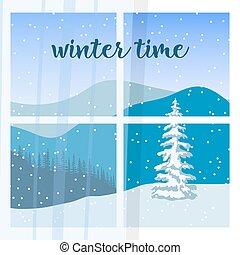 窓。, 光景, の, の, 冬の景色, ∥で∥, シルエット, の, 山, そして, forest., 雪, flurry.