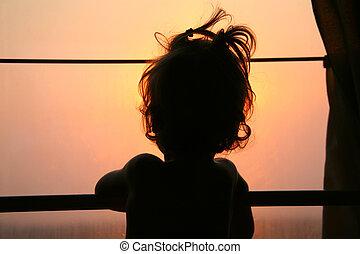 窓, 列車, シルエット, 子供