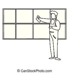 窓, 労働者, 清掃, 機械工