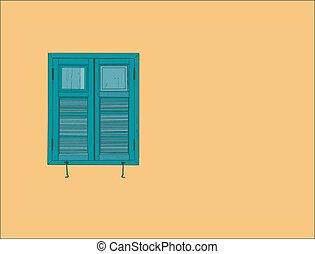 窓, 古いスタイル, スケッチ, vector.