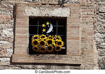 窓, 古い, assisi