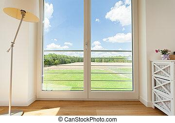 窓, 大きい, 光景, バルコニー