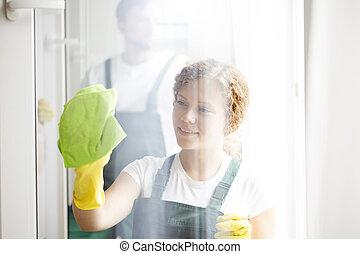 窓, 女, 清掃