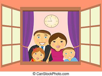 窓, 家族, 幸せ