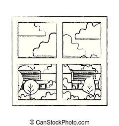 窓, 家, 公園, 光景