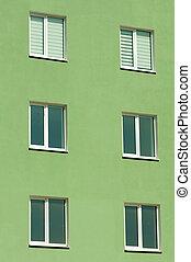 窓, 家, 6, 緑, 3階建てである