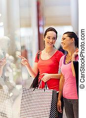 窓, 幸せ, 買い物, 若い女性たち