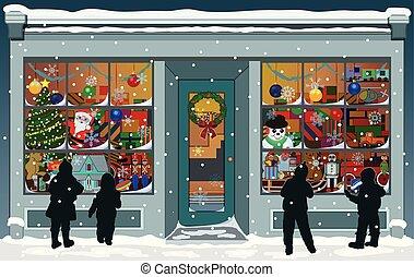 窓, 店先, ディスプレイ, クリスマス