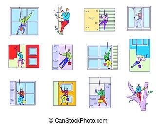 窓, 建物の 労働者, 人々, 外, ベクトル, イラスト, 清掃, ファサド, 改修