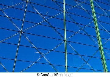 窓, 建物, 抽象的, 現代