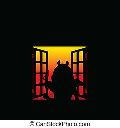 窓, 悪魔, 女の子, イラスト
