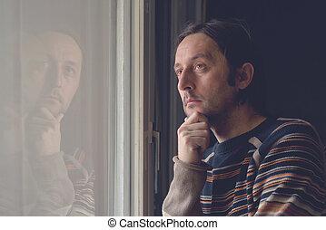 窓, 悲しい, 人