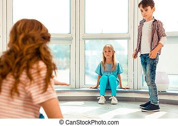 窓, 悲しい, 女の子, 不幸, モデル