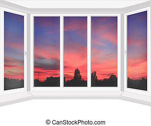 窓, 深紅, 日没, 見落とすこと, プラスチック