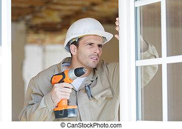 窓, 穴, フレーム, 人, ボーリングする
