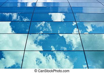 窓, 空, building's, 反射