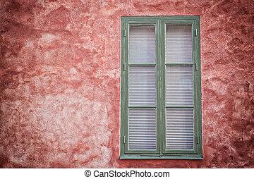 窓, 緑の赤, wall.