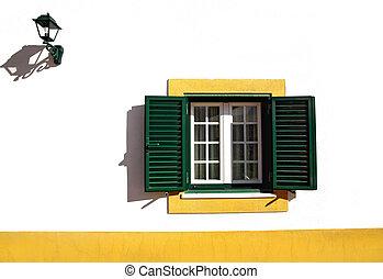 窓, 緑, 線, 黄色