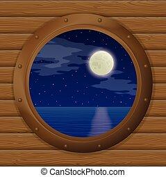 窓, 船, 海, 夜