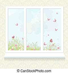 窓, 花, 日当たりが良い, 牧草地