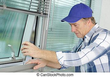 窓, 若い, 修理人, 部屋, フレーム, 固定