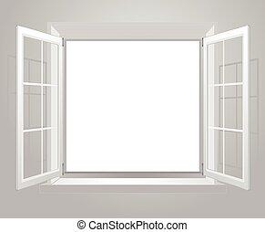 窓, 開いた, プラスチック