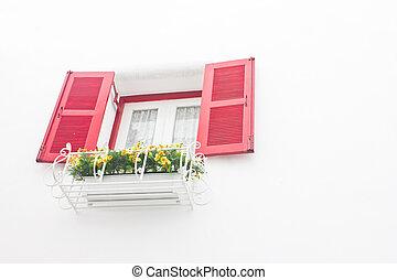 窓, 開いた, 白い赤, wall.