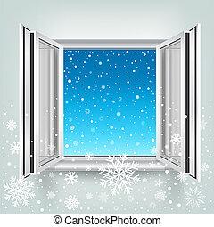 窓, 開いた, 落ちる, 雪