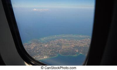 窓, 飛行機, ocean., 光景
