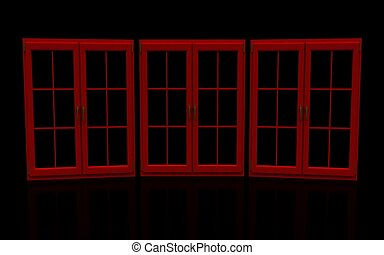 窓, 黒い赤, 閉じられた, プラスチック