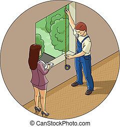 窗口, 妇女, 人, 措施