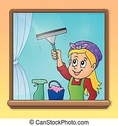 窗口, 妇女, 打扫, 形象