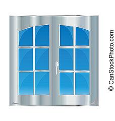 窗口, 带, 蓝的天空