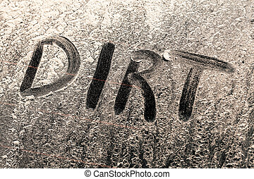窗口, 詞, 骯髒, 泥土