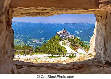 窗口, 阿尔卑斯山, kehlsteinhaus, 察看, 全景, 风景, 通过, 石头, 或者, 躲藏处, 在上面, ...